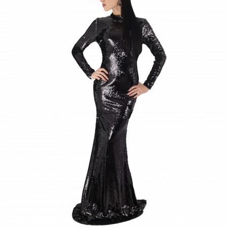 Rochie Cinderel Black - Rochie confectionata din paiete, realizata pentru ocazii deosebite. Este un model cu maneca lunga, mulat si contureaza frumos silueta feminia. Pe dedesubt este dublata cu captuseala. - Deppo.ro
