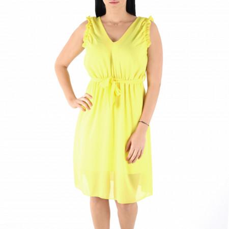 Rochie Jocelyn Yellow - Rochie galbenă casual cu spatele semi gol - Deppo.ro