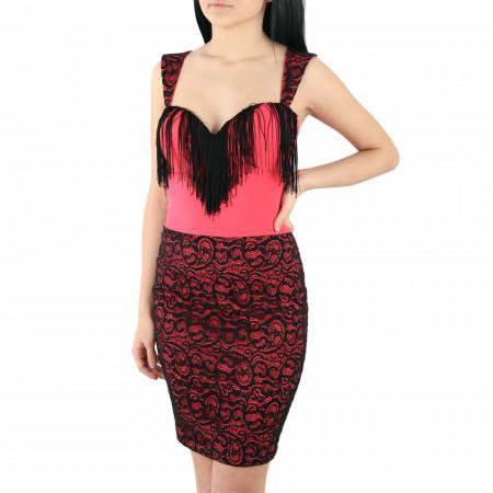 Rochie Santia Pink - Rochie elegantă cu material dantelat, pune-ți silueta în evidență și atrage toate privirile - Deppo.ro