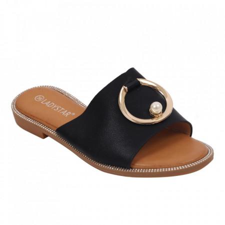 Saboți pentru dame cod W23-31 Black - Pantofi cu un model, foarte confortabili potriviți pentru birou sau evenimente speciale. - Deppo.ro