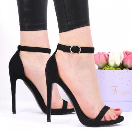 Sandale pentru dame cod ST0003 Black - Sandale pentru dame din piele ecologică întoarsă Închidere prin baretă Calapod comod - Deppo.ro