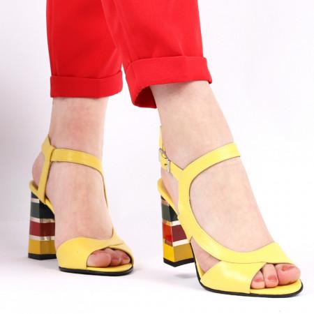Sandale pentru dame din piele naturală cod S22 Galben - Sandale pentru dama din piele naturală  Închidere prin baretă  Calapod comod - Deppo.ro