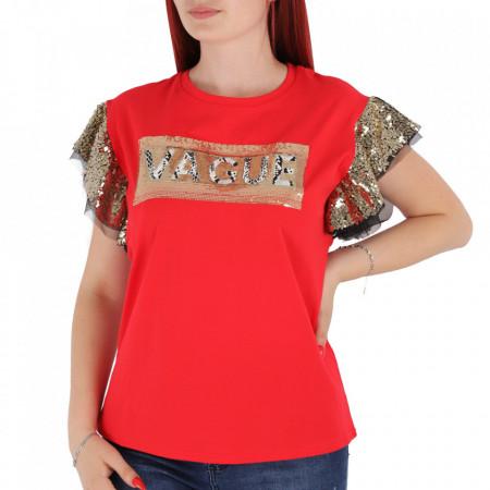 Tricou pentru dame cod F202 Red - Tricou pentru dame  Model decorativ cu paiete  Conferă lejeritate și o ținută casual - Deppo.ro