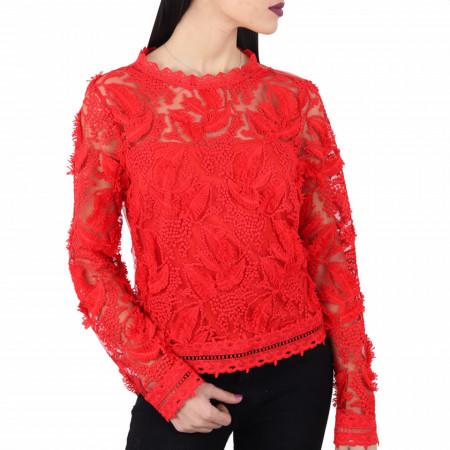 Bluză Chaya Red - Bluză elegantă, brodată Cu un model deosebit de frumos! Potrivită pentru dame! Compozitie 100% polyester - Deppo.ro