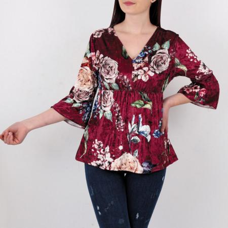 Bluză  Kirsten Red - Creeaza-ti propriul stil…fa-l sa fie unicpentru tine, dar identificabilpentru altii Model înfloratși o ținută casual! Potrivită pentru dame! - Deppo.ro