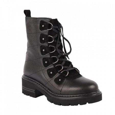 Ghete din piele naturală cod 170X Negru - Ghete din piele naturală cu șiret, stil casual - Deppo.ro