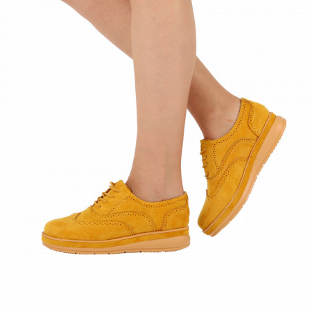 Pantofi cod BL00086 Yellow - Pantofi pentru dame, din piele ecologica întoarsă, cu închidere prin șiret - Deppo.ro