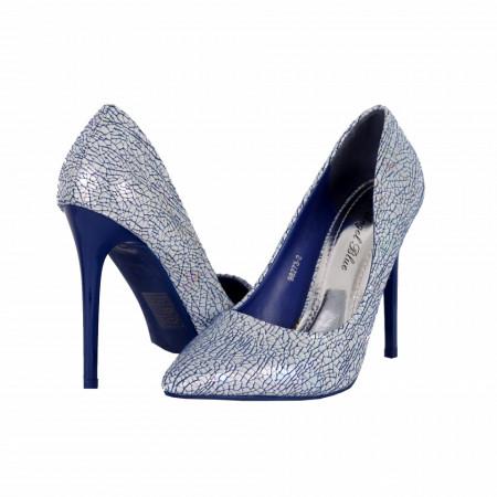 Pantofi cu toc cod 982732 Navy - Pantofi roşii cu vârf ascuţit şi toc subţire din piele ecologică, foarte confortabili cu un calapod comod - Deppo.ro