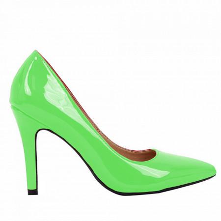 Pantofi cu toc cod A55051 Verde - Pantofi cu toc ascuțit din piele ecologică cu un design unic, fii in pas cu moda si străluceste la urmatoarea petrecere. - Deppo.ro