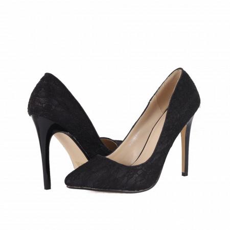 Pantofi cu toc cod BF6A7276 Negri - Pantofi cu toc ascuțit din piele ecologică întoarsă - Deppo.ro