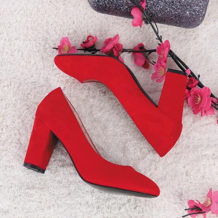 Pantofi cu toc cod EK0005 Roși - Pantofi cu toc gros și vârf rotund din piele ecologică întoarsă, foarte confortabili potriviți pentru birou sau evenimente speciale. - Deppo.ro