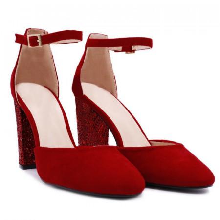Pantofi cu toc cod NA48 Roși - Pantofi din piele ecologica întoarsă cu toc pătrat şi vârf rotund - Deppo.ro