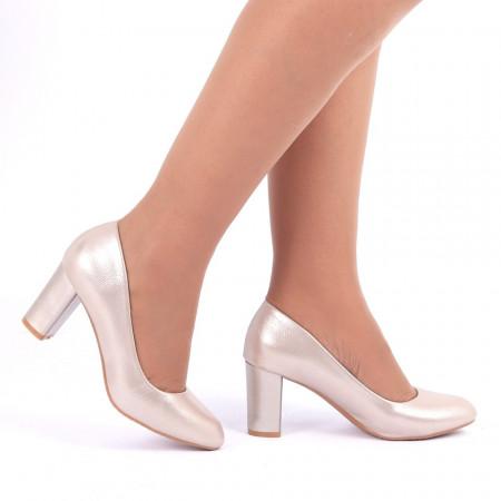 Pantofi Cu Toc Olive Apricot - Pantofi cu vârf rotund şi toc gros din piele ecologică, foarte confortabili cu un calapod comod - Deppo.ro