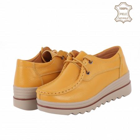 Pantofi din piele naturală cod 3089 Galbeni - Pantofi pentru dame din piele naturală cu talpă groasă flexibilă și închidere prin șiret - Deppo.ro