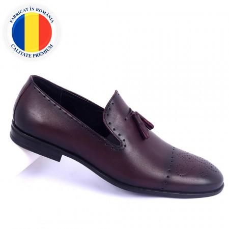 Pantofi din piele naturală Tristan Bordo - Pantofi din piele naturală interior-exterior ideali la ținute casual sau elegante cu un calapod comod - Deppo.ro