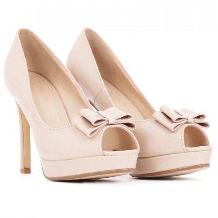 Pantofi Kailee Beige - Pantofi cu toc înalt și platformă, din piele ecologică lăcuită de înalta calitate - Deppo.ro
