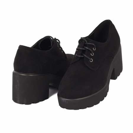 Pantofi pentru dame cod XH02 Negri - Pantofi pentru dame, din piele ecologica cu închidere prin șiret - Deppo.ro