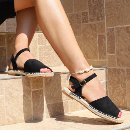 Sandale pentru dame cod F32 Black - Sandale pentru dama din piele ecologică întoarsă  Închidere prin baretă  Calapod comod - Deppo.ro