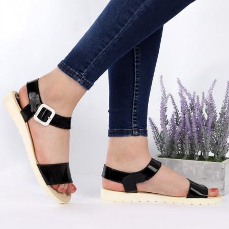 Sandale pentru dame din piele naturală cod Taby Black - Sandale pentru dama din piele naturală  Închidere prin baretă  Calapod comod - Deppo.ro