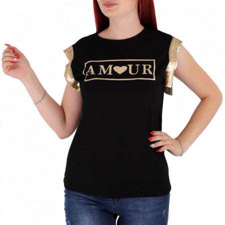 Tricou pentru dame cod F230 Black - Tricou pentru dame  Model decorativ cu paiete  Conferă lejeritate și o ținută casual - Deppo.ro