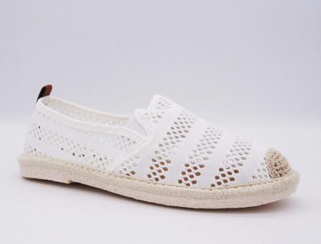 Balerini Anita White - Balerini din material textil cu talpă din spumă flexibilă decorați cu motive florale - Deppo.ro