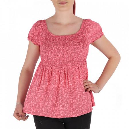 Bluză pentru dame tip cămășuță cod 31065 Pink - Bluză tip cămășuță pentru dame  Model cu floricele - Deppo.ro