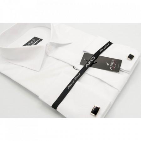 Cămaşă Semi Fit Albă Cu Butoni - Cămaşă albă cu butoni pentru bărbaţi cu mânecă lungă şi croială Semi Fit. Compoziţie 80% bumbac, 20% poliester. - Deppo.ro