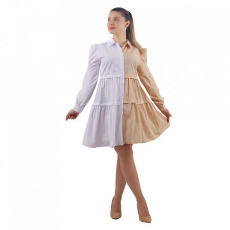 Cămașă Zana Bej&White - Este o cămașă tip rochie cu închidere prin nasturi. Este in doua nuanțe deschise care se pot asorta ușor. Se poate accesoriza cu o curea in talie pentru un asptect armonios. - Deppo.ro