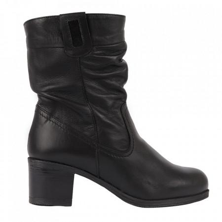Cizme din piele naturală cod 151810 Negre - Cizme din piele naturală ideale pentru sezonul rece Închidere prin fermoar Calapod comod - Deppo.ro
