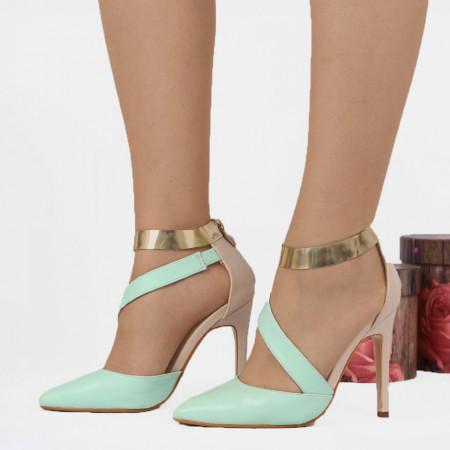 Pantofi cu toc cod 17858 Verzi - Pantofi cu toc din piele ecologică cu baretă și închidere prin fermoar  Fii în pas cu moda şi străluceşte la următoarea petrecere. - Deppo.ro