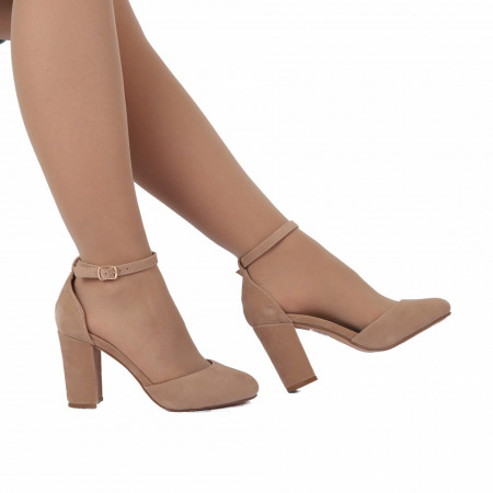 Pantofi cu toc cod 92022 Bej - Pantofi decupați tip sanda cu vârf și toc ascuțit din piele ecologică, foarte confortabili cu un calapod comod - Deppo.ro