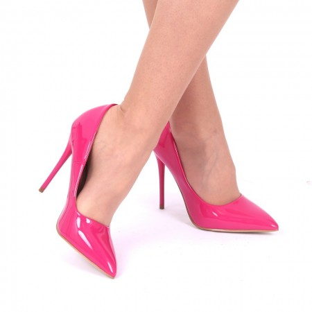 Pantofi cu toc cod EK0097 Fuchsia - Pantofi din piele ecologică, cu vârf ascuţit şi toc subţire, foarte confortabili cu un calapod comod - Deppo.ro
