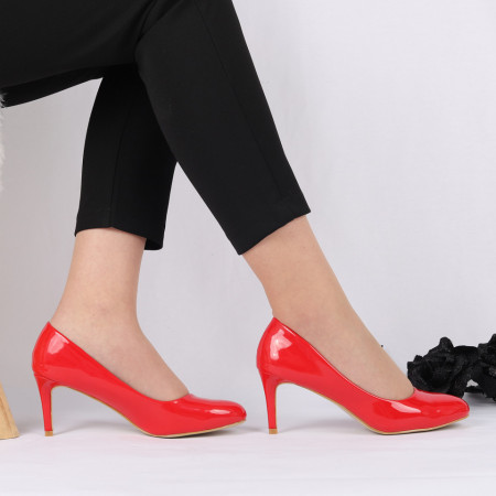 Pantofi Cu Toc Emery Red - Pantofi cu toc din piele ecologică cu un design unic. Fii în pas cu moda şi străluceşte la următoarea petrecere. - Deppo.ro