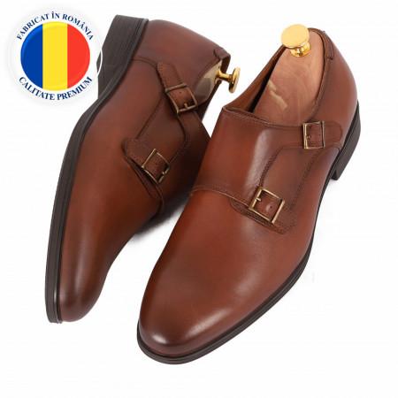 Pantofi din piele naturală Austin Maro - Pantofi maro din piele naturală, model simplu, finisaje îngrijite cu undesign deosebit - Deppo.ro