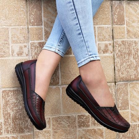 Pantofi din piele naturală Bordo Cod 66388 - Pantofi pentru dame din piele naturală   Calapod comod - Deppo.ro