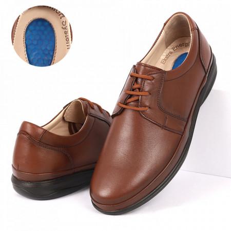 Pantofi din piele naturală cod 3500-1 Camel - Pantofi din piele naturală pentru bărbați, model simplu, finisaje îngrijite cu undesign deosebit și branț confortabil din gel - Deppo.ro