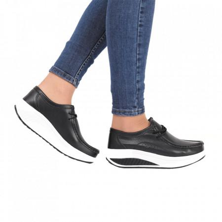 Pantofi din piele naturală cod A388 Negri - Pantofi negri pentru dame din piele naturală cu talpă flexibilă - Deppo.ro