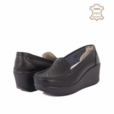 Pantofi din piele naturală cod H1789 Negri - Pantofi pentru dame din piele naturală cu talpă ortopedică flexibilă - Deppo.ro