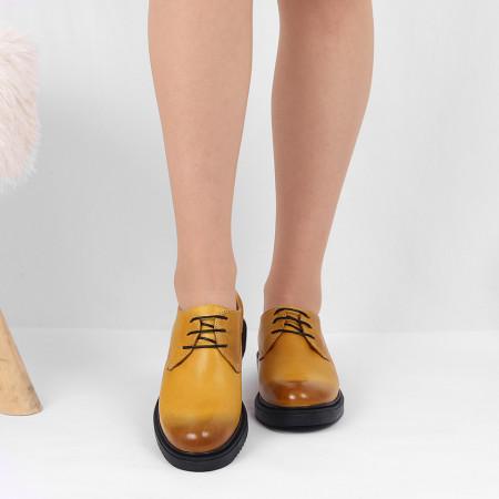 Pantofi din piele naturală galbeni Cod 483 - Pantofi damă din piele naturală, foarte confortabili cu un tălpic special care conferă lejeritate chiar și în cazurile în care petreci mult timp stând în picioare. - Deppo.ro