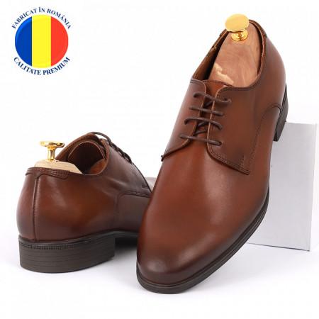 Pantofi din piele naturală pentru bărbați cod 176 Maro - Pantofi din piele naturală moale pentru bărbați, model simplu, finisaje îngrijite - Deppo.ro