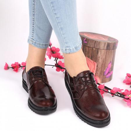 Pantofi din piele naturală vişinii Cod 2496 - Pantofi damă din piele naturală Închidere cu şiret Calapod comod - Deppo.ro