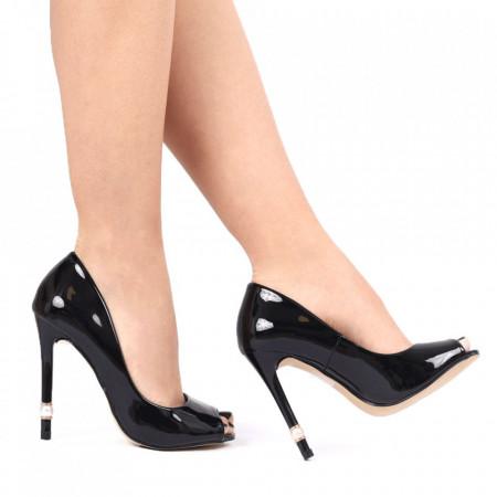 Pantofi pentru dame cod P1P2-1 BLACK - Pantofi cu toc din piele ecologică lăcuită decupați Toc  subțire Calapod comod - Deppo.ro