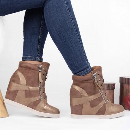 Pantofi Sport Cod 642 - Pantofi sport din piele ecologică întoarsă cu platformă  Închidere prin șiret și fermoar  Foarte comfortabili - Deppo.ro