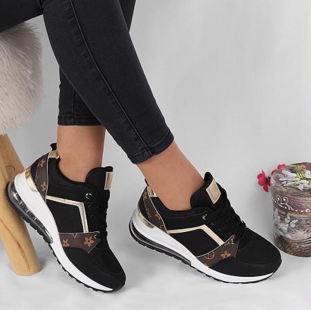 Pantofi Sport cod B-11 Negri - Pantofi sport negri din material textil și piele ecologică respirabil cu vârf rotund și talpă din silicon flexibilă si confortabilă - Deppo.ro