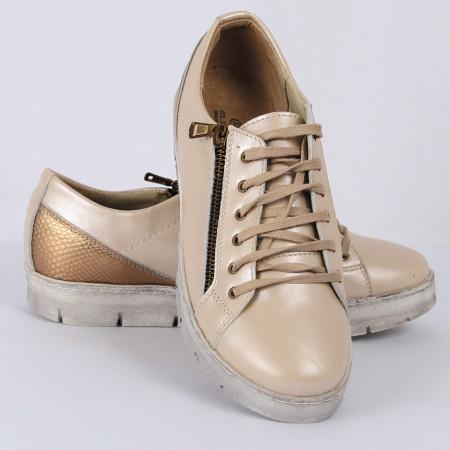 Pantofi sport din piele naturală bej Cod 1255 - Pantofi damă din piele naturală  Foarte confortabili cu un tălpic special care conferă lejeritate chiar și în cazurile în care petreci mult timp stând în picioare. - Deppo.ro