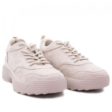 Pantofi Sport pentru dame cod FY212 Bej - Pantofi sport din piele ecologică întoarsă cu închidere prin șiret - Deppo.ro