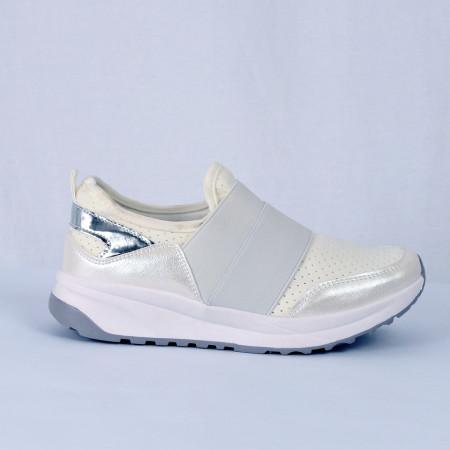 Pantofi Sport pentru dame Cod X-9700 Albi - Pantofi sport albi din material textil respirabil cu vârf rotund și talpă din silicon flexibilă si confortabilă - Deppo.ro