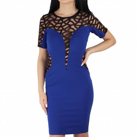 Rochie Helena Blue Short - Rochie elegantă fabricată în România cu un decolteu generos acoperit cu plasă neagră dantelată, maneci trei sfert din plasă neagră dantelată, pune-ți silueta în evidență și atrage toate privirile - Deppo.ro