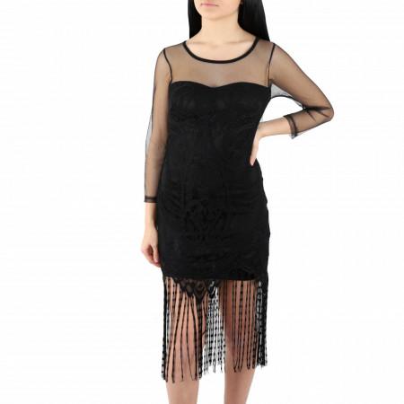 Rochie Senia Black - Rochie elegantă cu un decolteu acoperit cu plasă neagră dantelată, din plasă neagră dantelată, pune-ți silueta în evidență și atrage toate privirile - Deppo.ro