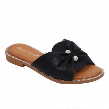 Saboți pentru dame cod W21-30 Black - Pantofi cu un model, foarte confortabili potriviți pentru birou sau evenimente speciale. - Deppo.ro